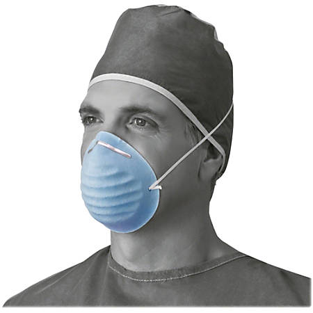 Medline Cone-style Face Mask - Latex-free, Fluid Resistant, Rounded Edge - Blue - 50 / Box