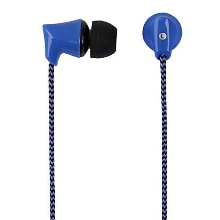 Ativa™ Plastic Earbud Headphones With Braided Cable, Blue, 1258-2