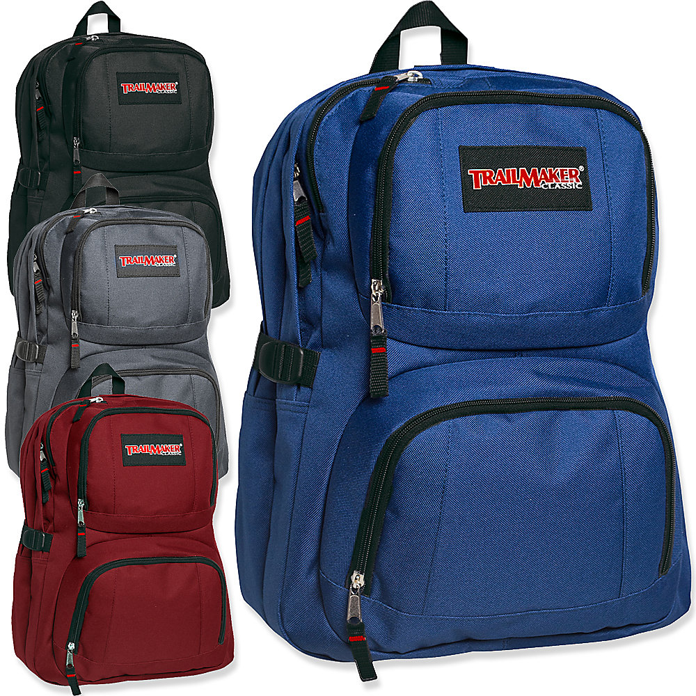 Trailmaker Double-Compartment Backpacks, Assorted Colors, Pack Of 24 Backpacks