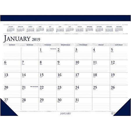 """House of Doolittle Perforated Top Desk Pad Calendar - Yes - Monthly - 1 Year - January 2019 till December 2019 - 1 Month Single Page Layout - 22"""" x 17"""" - Desk Pad - Blue - Vinyl, Leather - Perforated, Non-refillable"""