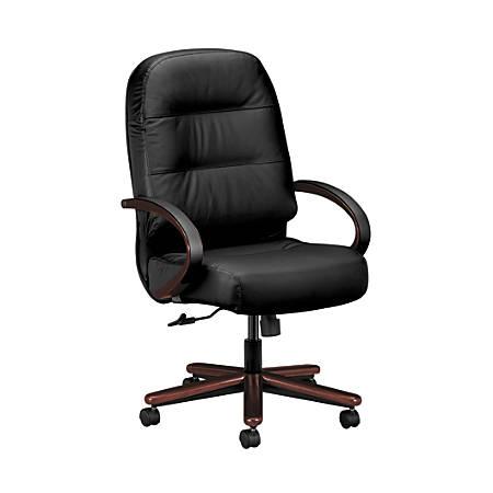 "HON® Wood Pillow Soft High-Back Leather Chair, 46 1/2""H x 26 1/4""W x 29 3/4""D, Black/Mahogany"