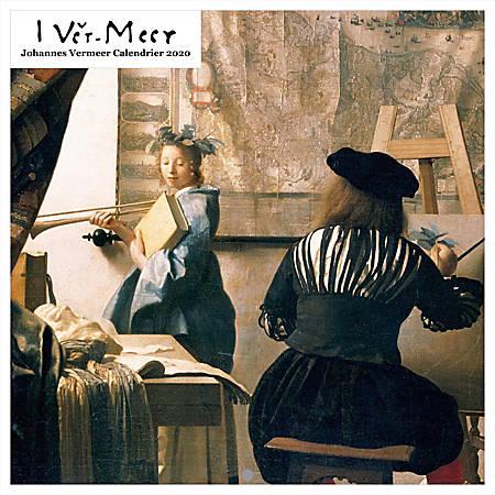 "Johannes Vermeer Square Calendar, 19"" x 24"", Black, January To December 2020"