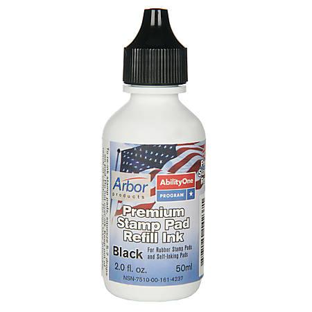 SKILCRAFT® Premium Stamp Pad Refill Ink, 2 Oz, Black (AbilityOne 7510-00-161-4237)