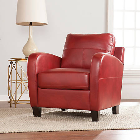 Southern Enterprises Bolivar Lounge Chair, Red/Brown