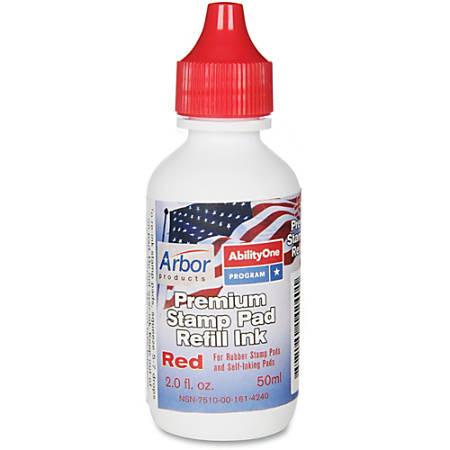 SKILCRAFT® Premium Stamp Pad Refill Ink, 2 Oz, Red (AbilityOne 7510-00-161-4240)