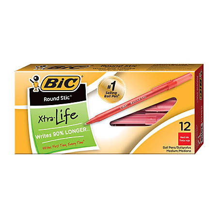 BIC® Round Stic® Ballpoint Pens, Medium Point, 1.0 mm, Translucent Barrel, Red Ink, Pack Of 12
