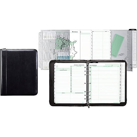 """Day-Timer® Aristo 1"""" Bonded Leather Binder Set With Zipper, 8 1/2"""" x 11"""", Black"""
