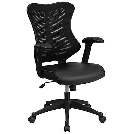 Flash Furniture Designer Mesh/Leather High-Back Chair, Black