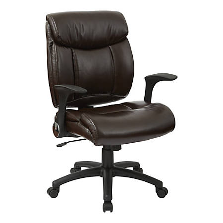 Office Star™ Work Smart™ Faux Leather High-Back Chair, Chocolate/Black