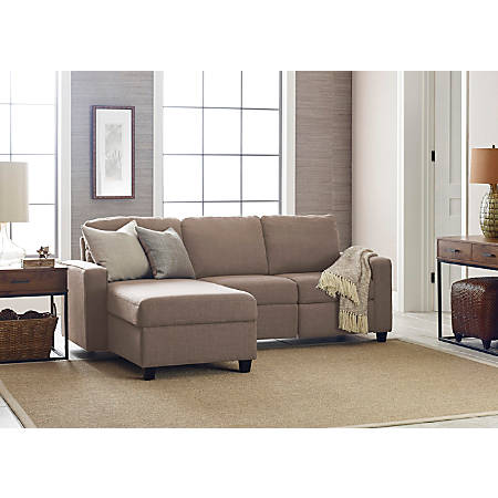 Serta Palisades Reclining Sectional With Storage Chaise, Left, Oatmeal/Espresso