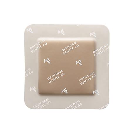 """Optifoam® Antimicrobial Adhesive Gentle Border Dressings, 6"""" x 6"""", Tan, Box Of 10"""