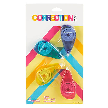 Office Depot® Brand Mini Correction Tape, Assorted Colors, Pack Of 4