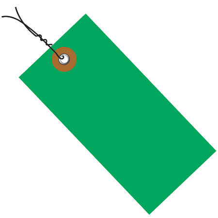 """Office Depot® Brand Tyvek® Prewired Shipping Tags, 5 3/4"""" x 2 7/8"""", Green, Pack Of 100"""