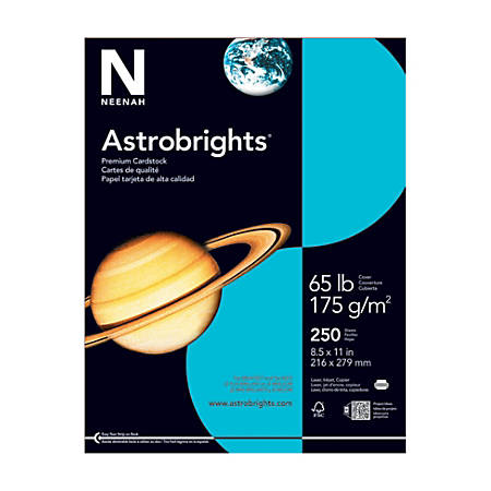 "Astrobrights® Color Card Stock, 8 1/2"" x 11"", FSC® Certified, 30% Recycled, 65 Lb, Lunar Blue, Pack Of 250"