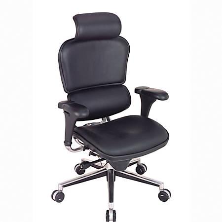 "Eurotech Ergohuman High-Back Leather Chair, 52""H x 26 1/2"" W x 19""D, Chrome Frame, Black Leather"
