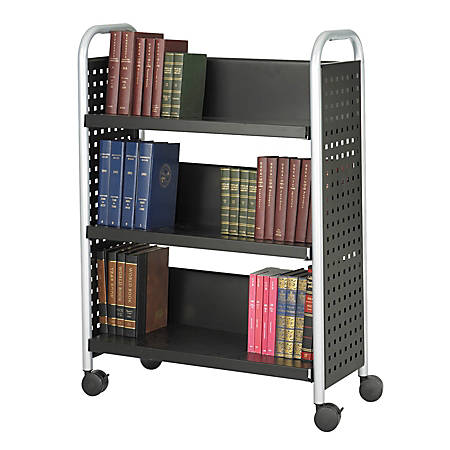 """Safco® Scoot™ Steel Book Cart, 3 Single-Sided Shelves, 45""""H x 32 1/2""""W x 13 3/4""""D, Black"""