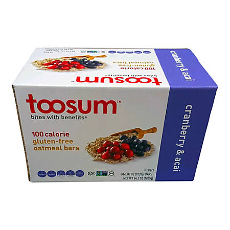 Toosum Healthy Foods Oatmeal Bars, Cranberry and Acai, 1.07 Oz, Pack Of 120 Bars
