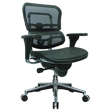 "Raynor® Ergohuman Mid-Back Mesh Chair, 45 1/2""H x 26 1/2""W, Chrome Frame, Black Mesh Fabric"
