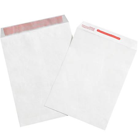 "Office Depot® Brand Tyvek® Tamper-Evident Envelopes, 9"" x 12"", White, Case Of 100"