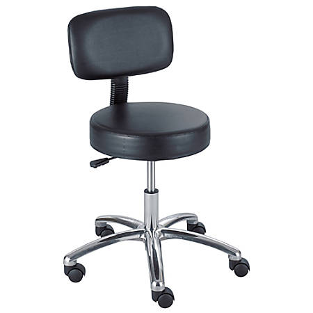 "Safco® Pneumatic-Lift Lab Stool With Back, 35 1/2""H x 23""W x 23""D, Chrome Frame, Black Fabric"