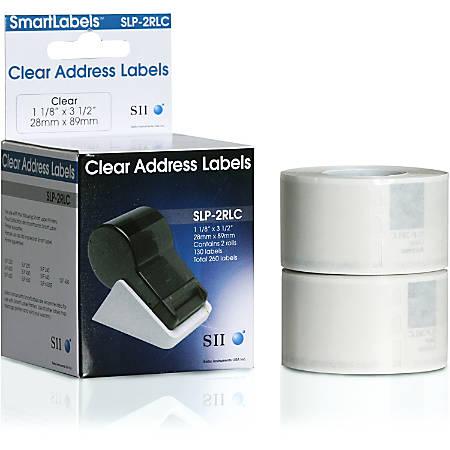 """Seiko Address Labels, SKPSLP2RLC, 3 1/2""""W x 1 1/9""""L, Rectangle, Clear, 130 Per Roll"""