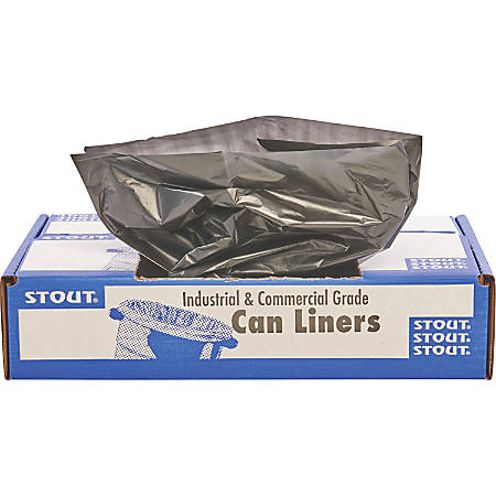 """Stout Total Recycled Content Trash Bags, 1.3-mil, 33 Gallons, 33"""" x 40"""", 100% Recycled, Brown, Carton Of 100"""