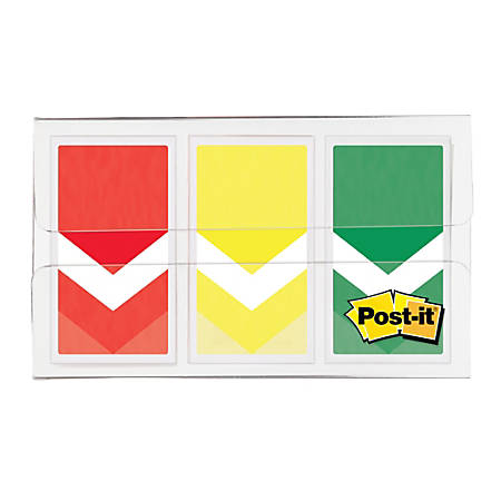 "Post-it® Arrow Flags, 1"", Prioritization, Stoplight Colors, 20 Flags Per Pad, Pack Of 3 Pads"
