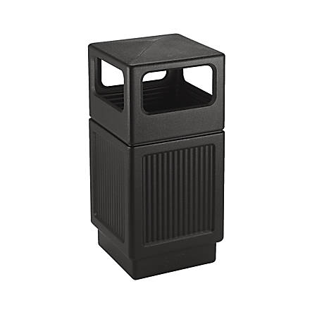 Safco Canmeleon Side-Open Receptacle, Square, Polyethylene, 38 gal, Textured Black