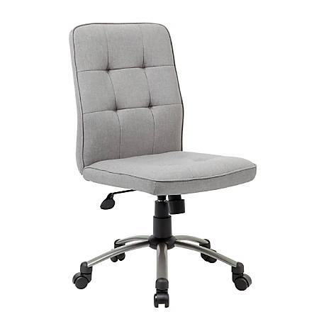 Boss Modern Fabric Mid-Back Task Chair, Taupe/Pewter