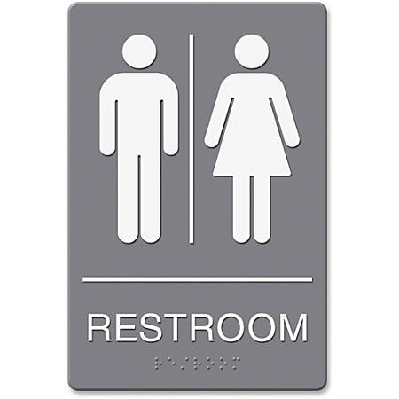 """HeadLine Restroom Image Indoor Sign - 1 Each - Restroom Print/Message - 6"""" Width x 9"""" Height - Rectangular Shape - Double-sided - Plastic - Gray, White"""