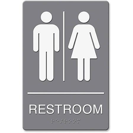 """Headline Sign ADA Restroom Sign, 6"""" x 9"""", Gray"""