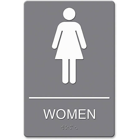 "HeadLine ADA Women Restroom Sign with Symbol - 1 Each - Women Print/Message - 6"" Width x 9"" Height - Rectangular Shape - Adhesive - Plastic - Gray"