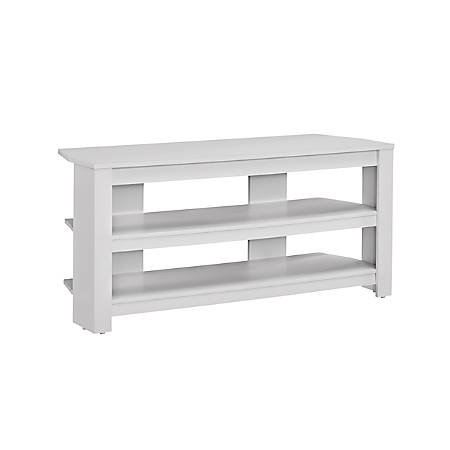 "Monarch Specialties TV Stand, 3-Shelf, For Flat-Panel TVs Up To 40"", White"