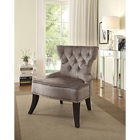 Ave Six Colton Vintage-Style Button-Tufted Chair, Otter/Dark Brown
