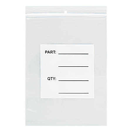"""Office Depot® Brand Parts Bags With Hang Holes, 4"""" x 6"""", Clear/White, Case Of 1,000"""
