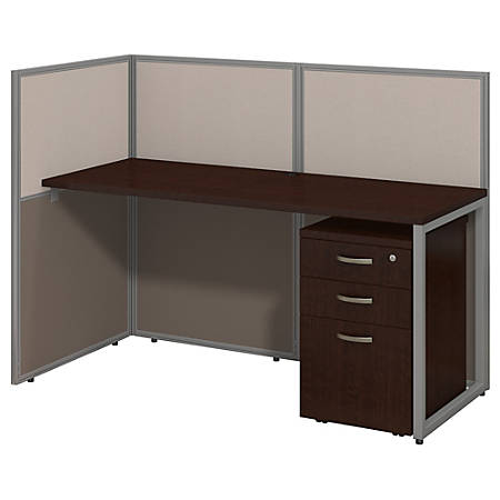 """Bush Business Furniture Easy Office Straight Desk Open Office With 3-Drawer Mobile Pedestal, Fully Assembled, 44 15/16""""H x 60 1/16""""W x 30 9/16""""D, Mocha Cherry"""