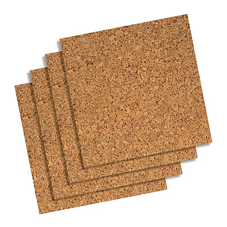 Quartet Cork Wall Tiles 12 X Natural Pack Of 4 Item 426061