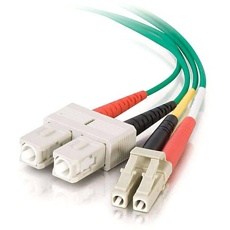 C2G-5m LC-SC 50/125 OM2 Duplex Multimode Fiber Optic Cable (Plenum-Rated) - Green - Fiber Optic for Network Device - LC Male - SC Male - 50/125 - Duplex Multimode - OM2 - Plenum-Rated - 5m - Green