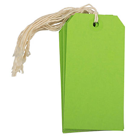"JAM Paper® Gift Tags, 4 3/4"" x 2 3/8"", Green, Pack Of 10"