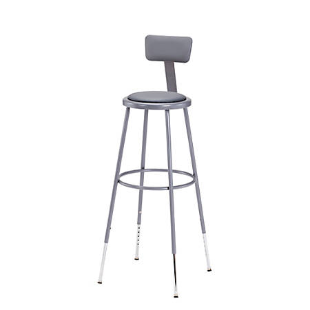 """National Public Seating Adjustable Vinyl-Padded Stools With Backs, 44 - 53 1/2""""H, Gray, Set Of 3"""