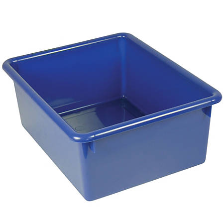 """Stowaway® 5"""" Letter Box, No Lid, 5""""H x 10 1/2""""W x 13""""D, Blue, Pack Of 4"""