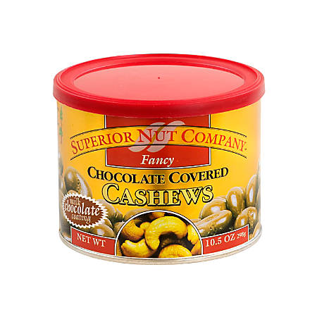 Superior Nut Fancy Chocolate-Covered Cashews, 10.5 Oz, Pack Of 12 Cans