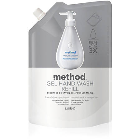 Method Free 'N Clear Gel Handwash Refill - 34 fl oz (1005.5 mL) - Hand - Clear - Dye-free, Fragrance-free, Biodegradable - 1 Each