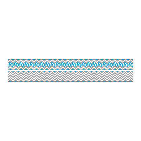 "Barker Creek Double-Sided Straight-Edge Border Strips, 3"" x 35"", Chevron Gray And Blue, Pack Of 12"