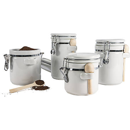Anchor Hocking Ceramic Canister Set - Food Canister, Spoon - Ceramic, Wood Spoon