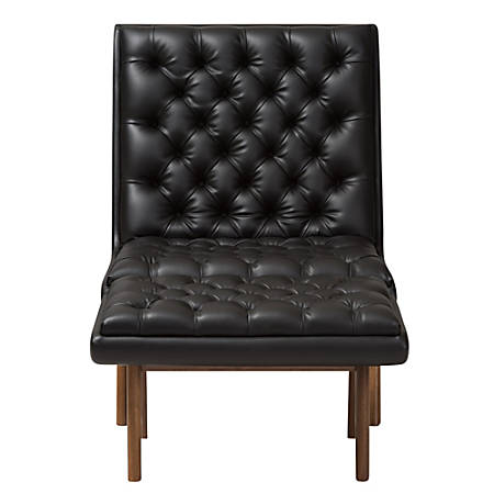 Baxton Studio Yasin Faux Leather Chair And Ottoman Set, Black/Walnut