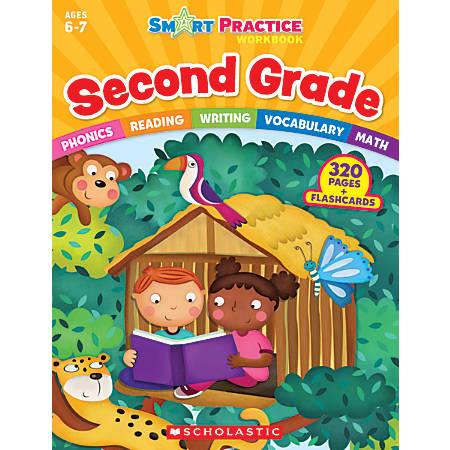 Scholastic Smart Practice Workbook With 48 Flash Cards, Grade 2