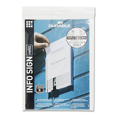 Durable Replacement Paper Inserts For 480223 Durable Office Products InfoSign Interior Signage Systems, White, Pack Of 20