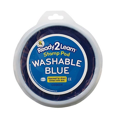 Center Enterprises Jumbo Circular Washable Paint/Ink Pads, 1 Oz, Blue, Pack Of 6