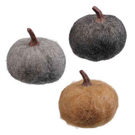"""Amscan Fabric Small Pumpkins Set, 3"""", 2 Per Pack, Carton Of 3 Packs"""
